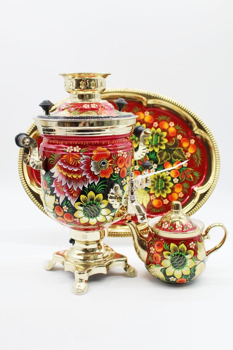 "Dulevo porcelain / Electric samovar 3 l. ""Sunflower"" in the set"