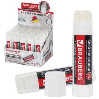 """Glue stick BRAUBERG """"Crystal"""", translucent, 15 g"""