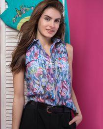 Women's blouse 'Watercolor' blue