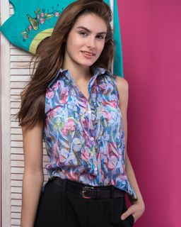 """Women's blouse """"Watercolor"""" blue"""