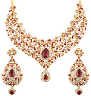 Touchstone Indian Bollywood Floral Inspired Maroon Faceted Faux Garnet And White Austrian Crystals Bridal Jewelry Necklace In Antique Gold Tone For Women