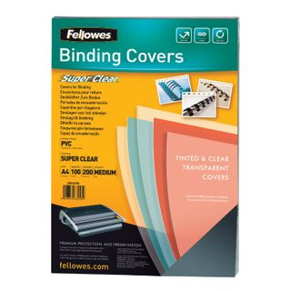 Plastic covers for A4 binding, SET 100 pcs., 200 microns, transparent, FELLOWES