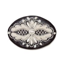 Brooch 'Masquerade' black with silver embroidery
