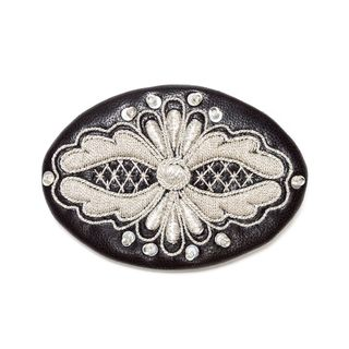 "Brooch ""Masquerade"" black with silver embroidery"