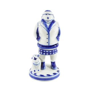 Sculpture of a Woman with a dog in 2nd grade, Gzhel Porcelain factory