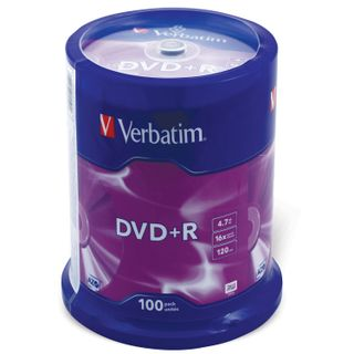 VERBATIM / DVD + R Discs (plus) 4.7 Gb 16x Cake Box, SET 100 pcs.