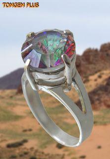 Silver ring 925 with mystic quartz 10mm