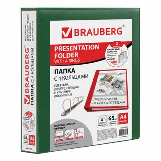 Folder on 4 rings with front transparent pocket BRAUBERG, cardboard/PVC, 65 mm, green, up to 400 sheets