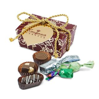 Gift box with chocolate candies and jelly beans