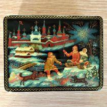 Box Palekh 'Winter', 10*8cm, master Lukin