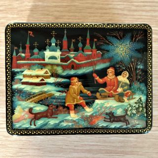"Box Palekh ""Winter"", 10*8cm, master Lukin"
