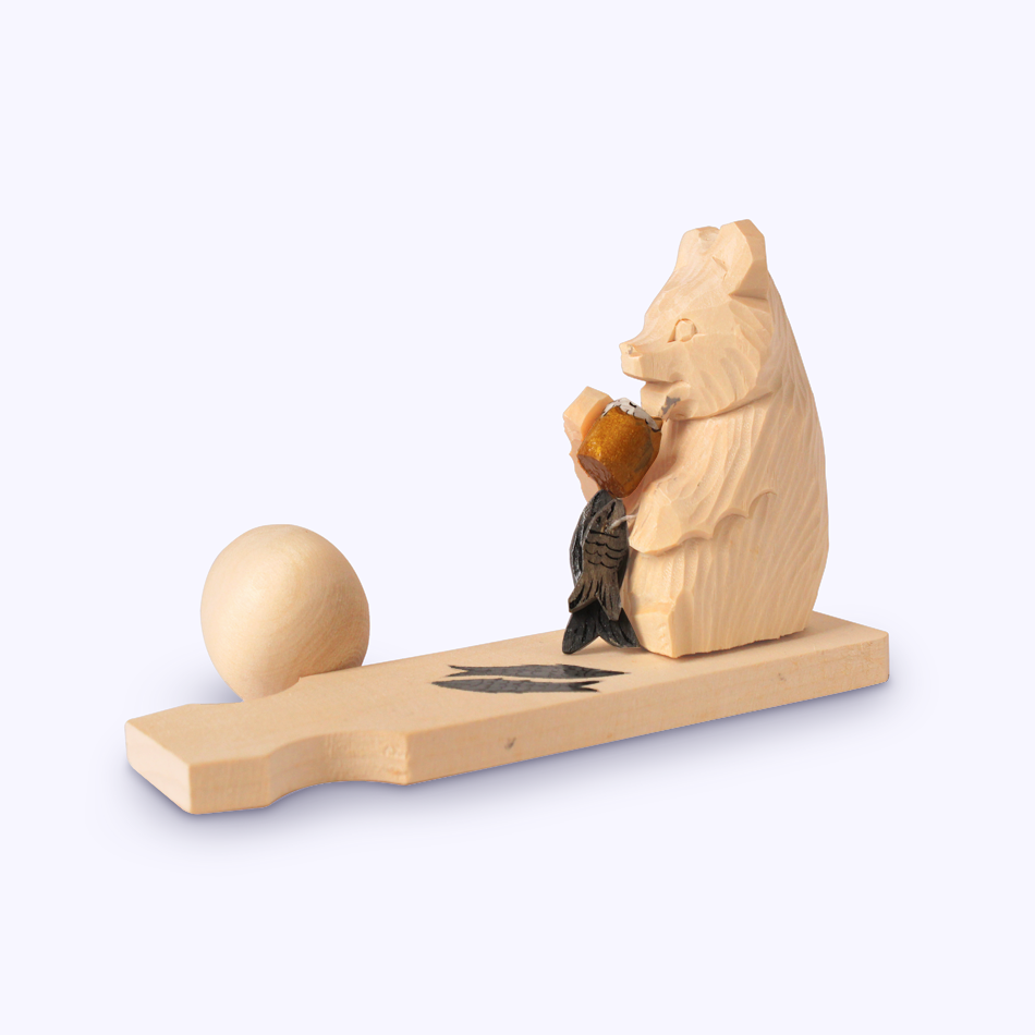 "Bogorodskaya toy / Wooden souvenir ""Bear with beer"""