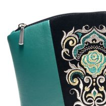 Leather cosmetic bag rose green with gold embroidery