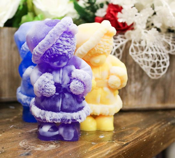 Soap olive New Year's Teddy Santa mix of flowers