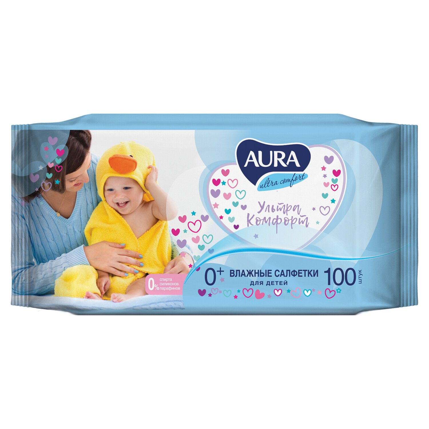 """AURA / Wet wipes for children """"Ultra comfort"""", universal, cleansing, hypoallergenic, alcohol-free, SET 100 pcs."""