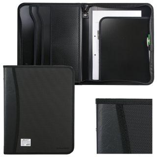 The zip folder plastic BRAUBERG, A4, 350х282х33 mm, 2 compartments, 4 pockets, business class, black