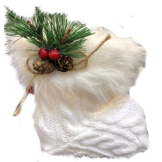 """New Year's gift """"Knitted"""" white boot + set of sweets 300g."""