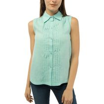 Women's blouse 'Watercolor' blue with silk embroidery