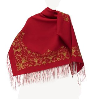 """Shawl """"Dance"""" red with gold embroidery"""