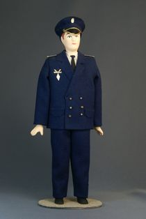 Doll gift porcelain. Form of pilot of civil aviation. Russia.