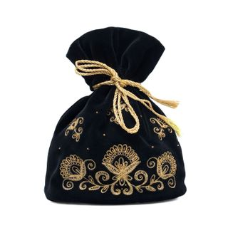 "Bag pouch black ""Romance"" gold"