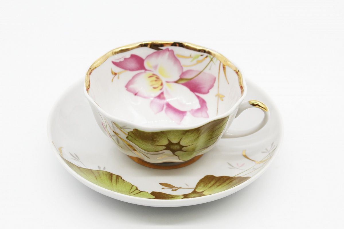 Dulevo porcelain / Set of tea cup with saucer, 12 pcs., 220 ml Tulip June