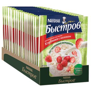Oatmeal BYSTROV, strawberries with milk, 680 g (17 pcs. 40 g each), cardboard show box