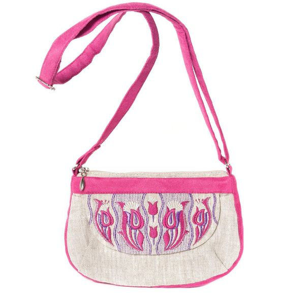 Linen bag 'Tulips' gray with silk embroidery