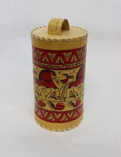 "Box of birch bark ""Mezenskaya Rospis"" height 19 cm"