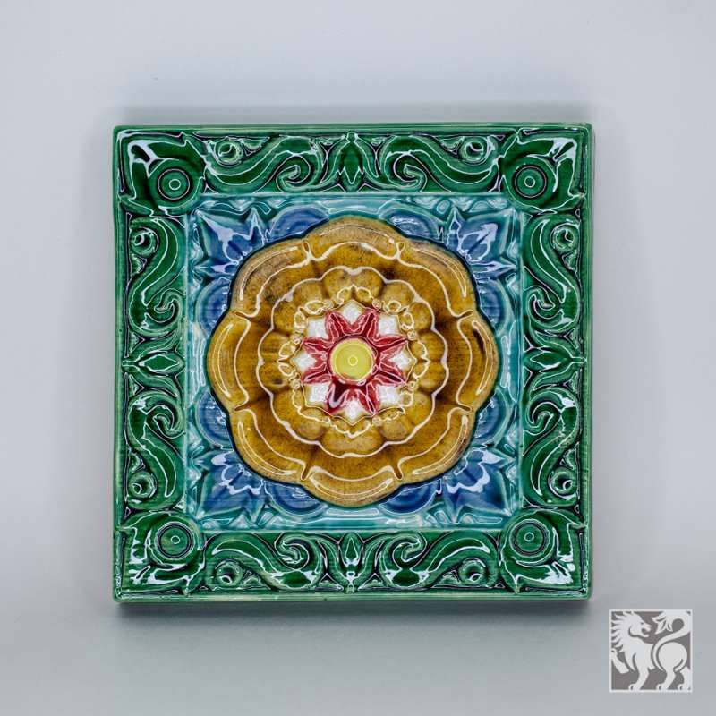 "Yaroslavl majolica / Tile ""Sun"", green"