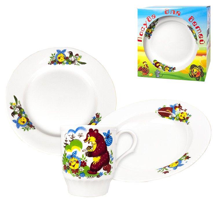 Dulevo porcelain / A set of dishes 3 ave. Vesely Kolobok I. U (t. 200 mm chalk, t. Depth 200 mm, mug 210 ml Russian Field)