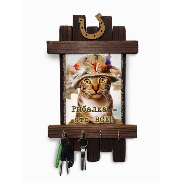 "Universal scroll / Handmade wooden wall key holder ""Fishing - Cat"""