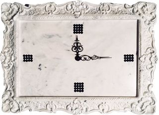 Arbet Marble / Wall clock from marble Arbet ™ with rhinestones from crystal, color Mother of pearl (white)