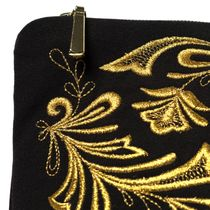 Cosmetic bag 'Frosty pattern' in black with gold embroidery