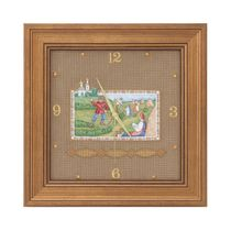 Panel-clock 'Haymaking' white with gold embroidery