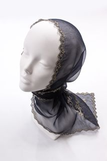 """Scarf """"Fleur"""" is black with gold"""