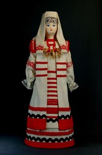 Doll gift porcelain. Vyatka lips. Russia. The Udmurt women's costume. Late 19th - early 20th century.