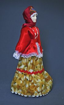 Doll gift porcelain. Traditional Cossack costume. 19th century. Russia