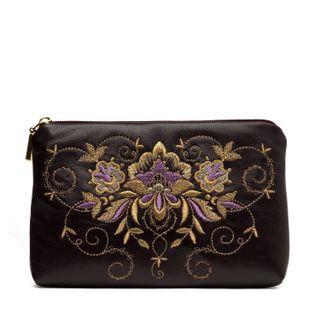 "Leather cosmetic bag ""Success"" purple"