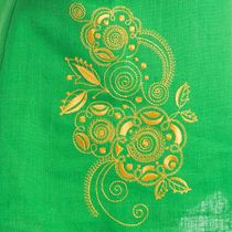 Dress baby 'Caramel' green with silk embroidery