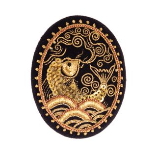 "Brooch ""Fish"" in black with gold embroidery"