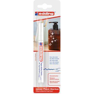 Edding / Marker varnish glossy, round nib, 1-2 mm, blister White