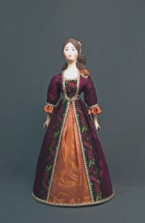 Doll gift porcelain. Lady in a secular dress. The end of the 18th century - Europe.