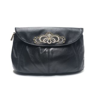 "Leather cosmetic bag ""Morning dew"" in black with silver embroidery"