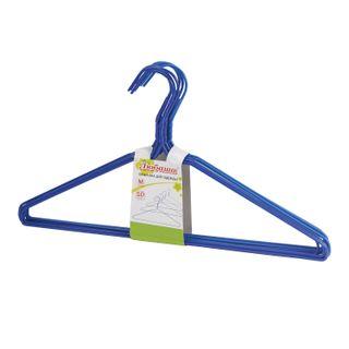 LYUBASHA / Economy coat hangers, size 46-48, SET of 10 pieces, metal / PVC, crossbar, color blue