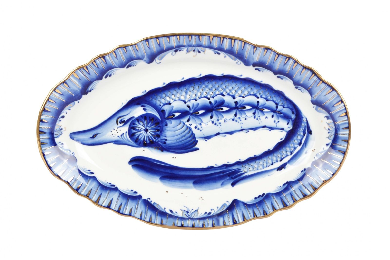 Dulevo porcelain / Oval dish 350 mm Carved edge Fish Gold