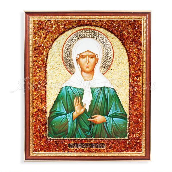 Amber of Russia / Icon of St. Matrona 37x44 cm