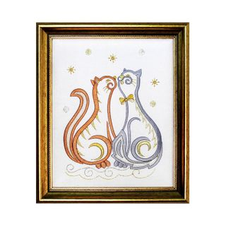 "Panel ""Cats"" in white color with Golden embroidery"