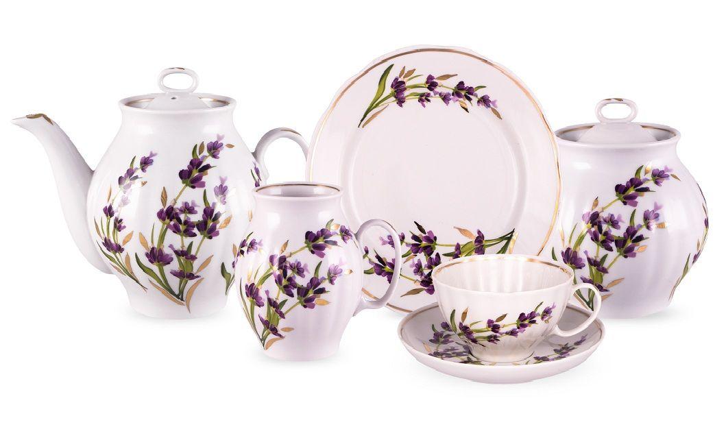 Dulevo porcelain / Tea set 15 pcs. White Swan Lavender Gold Layer