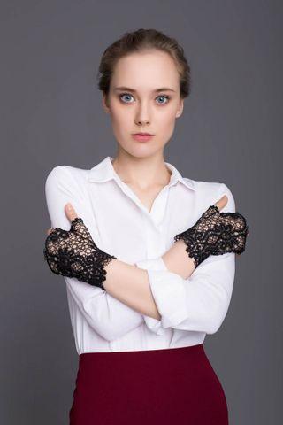 Lace fingerless gloves Fleur black